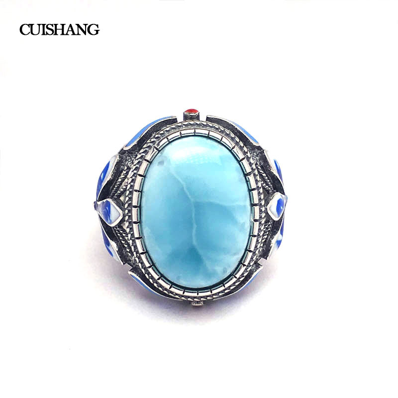 CSJ Real Larimar Rings Sterling 925 Silver Blue Big Stone OV13*18 Wedding Engagement Party for Women Lady Girl GiftCSJ Real Larimar Rings Sterling 925 Silver Blue Big Stone OV13*18 Wedding Engagement Party for Women Lady Girl Gift