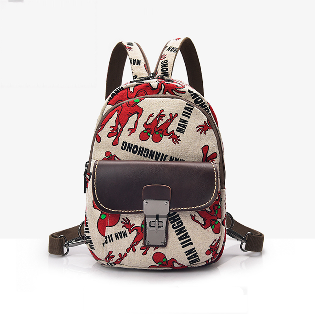 ФОТО 4 Floral Pattern 2017 Fashion Style Women Mini Canvas Backpack Travel Casual Shoulder Chest Bag Multifunction Weable Pouch