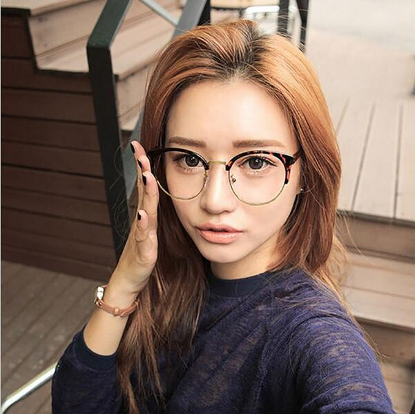 Retro Cat Eye Glasses Frame Brand Designer Fashion Women Half Frame Eyeglasses Vintage Men Optical Frame Oculos de grau