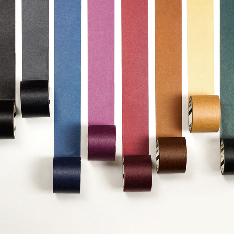 Retro Solid Color And Paper Tape Pure Black Gold Color Coffee Multi-color Hand Book Decorative Gambling Washi Tape 5M Length