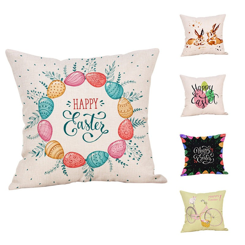 Cushion Cover Considerate Happy Easter Cushion Cover Easter Bunny Decoration Pillowcase Rabbit Egg Polyester Throw Pillow Case Cover Pasen Mat Set #ss Curing Cough And Facilitating Expectoration And Relieving Hoarseness