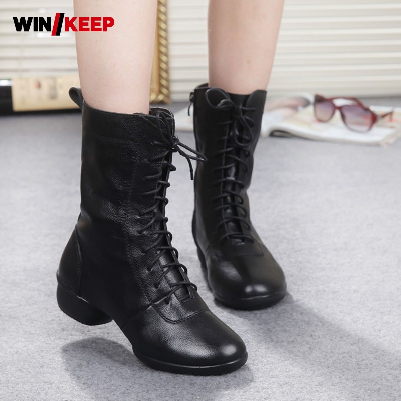 2019 New Women Lace Up Dance Sneakers Hollow Leather Shoes Soft Warm Breathable Jazz Dancers Dance Shoes Coupon Fleece Lining image