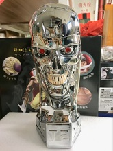新しい1:1 T800 T2頭蓋骨ターミネーター内骨格リフトサイズバストアクションフィギュア樹脂レプリカ模型玩具コレクションギフトled目