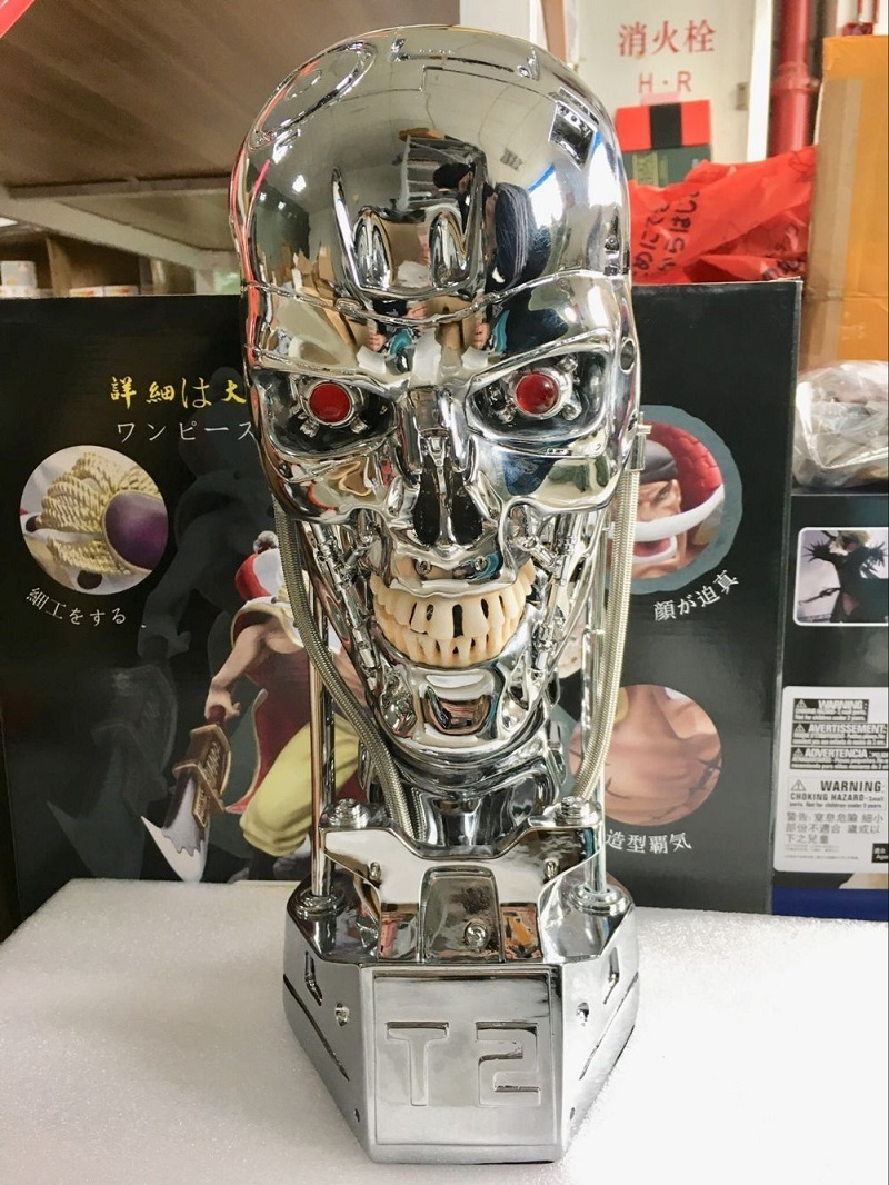 NEW 1:1 T800 T2 Skull Terminator Endoskeleton Lift-Size Bust Action Figure Resin Replica Model Toy Collection Gift LED EYE