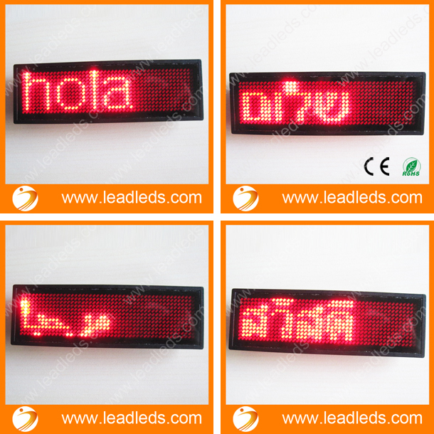 10pieces Red Color LED Name Badge Free Shipping Programmable Message Sign Board Support  Arabic Etc Multinational Language