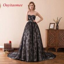 Бальное платье, черное кружевное платье для выпускного вечера, женские вечерние платья на выпускной,, милое декольте, длина до пола, длинное платье с аппликацией со шлейфом