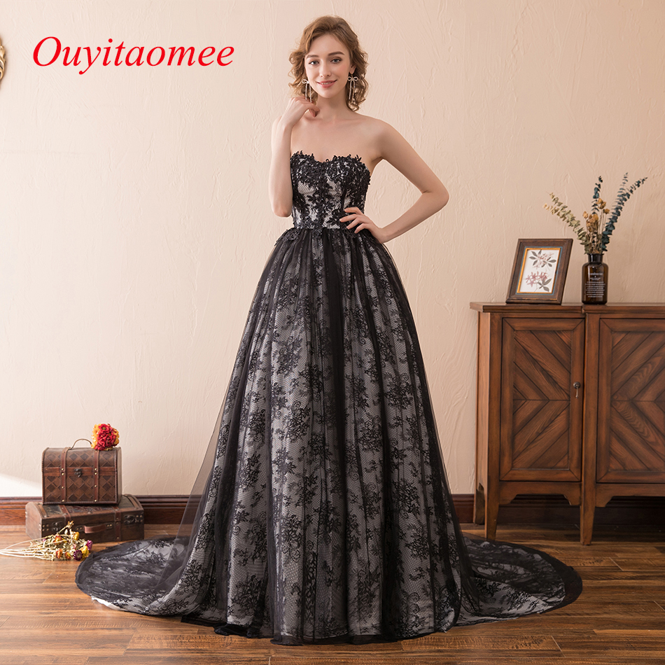 6d008f13453 Ball Gown Black Lace Prom Dress Woman Prom Party Gown 2018 Sweetheart  Neckline Floor Length Long Dress With Court Train Applique