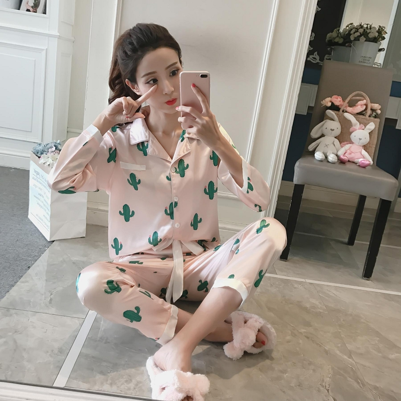 2019 Spring Autumn Women Lovely Cactus Wear Leisure Clothes Long Sleeved Women Pajamas for Women Pyjamas Sets Nightwear(China)
