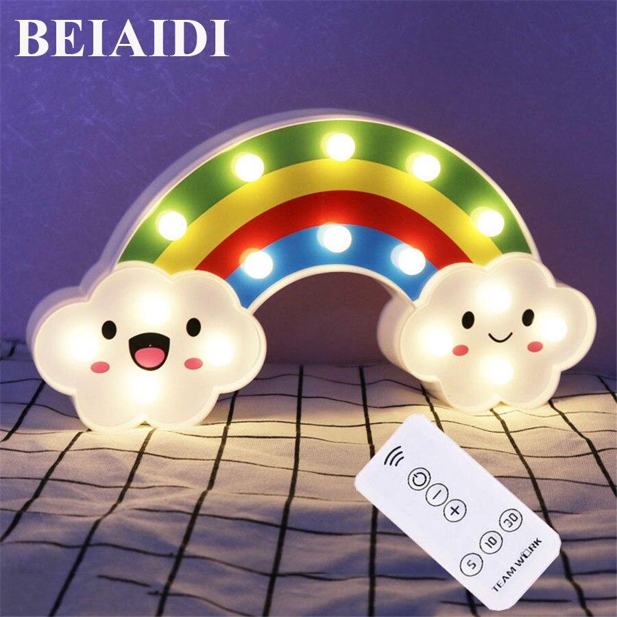 BEIAIDI Smile Face Cloud Rainbow LED Night Light With Controller Baby Bedroom Decor Cartoon Lamp Sleeping Lighting Children Gift