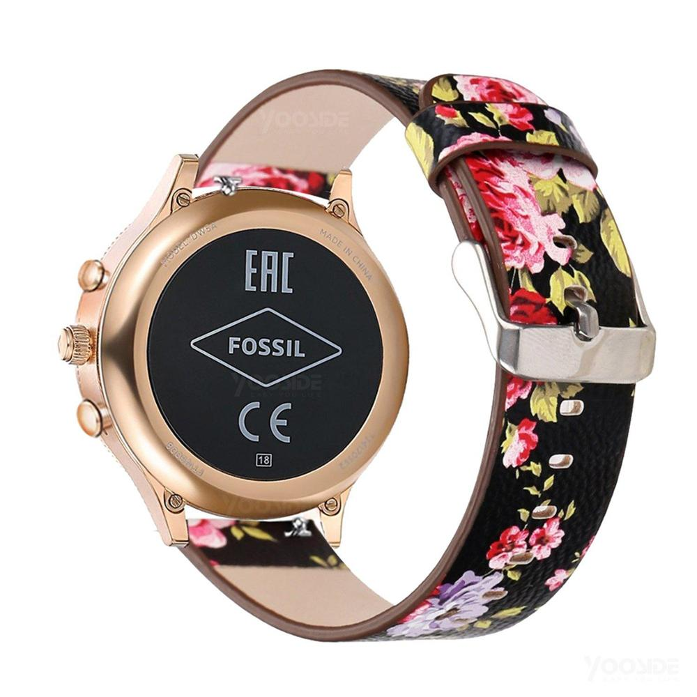 For Fossil Q Venture 18mm Quick Release Flower Leather Watch Band Strap Bracelet For Fossil Q Venture Gen3/Gen4 HR/Women's Sport