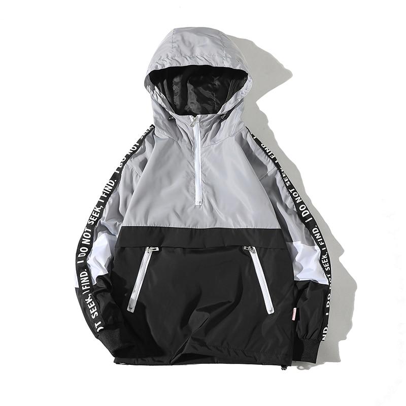 Image 4 - Legible 2019 Patchwork Black Pullover Jacket Fashion Tracksuit Casual Coat Men Windbreaker Hip Hop Streetwear Hooded Jackets Men-in Jackets from Men's Clothing