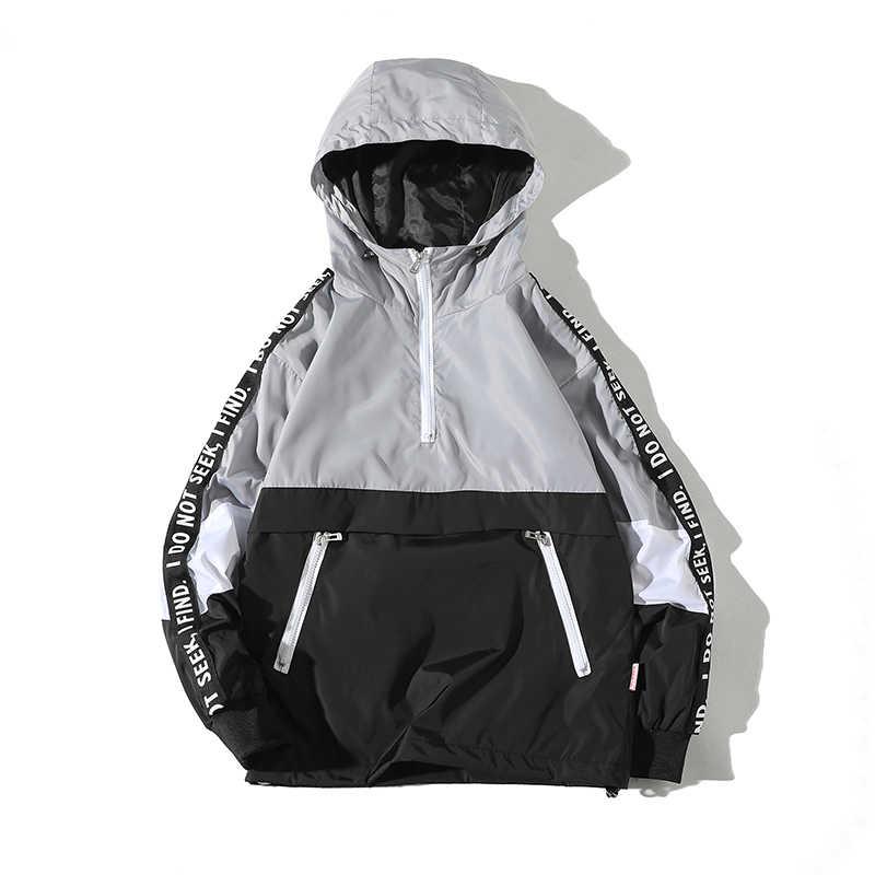 Legible 2019 Patchwork negro Pullover chaqueta moda Chándal Casual abrigo hombres rompevientos Hip Hop Streetwear chaquetas con capucha hombres