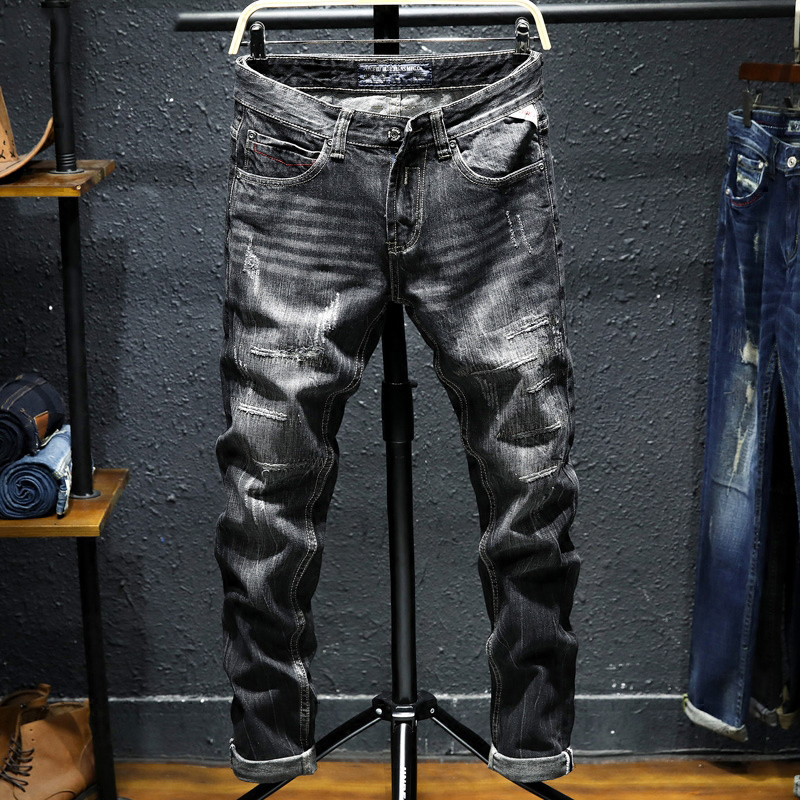 Fashion High Street Men Jeans Black Color Slim Fit Destroyed Ripped Jeans For Men Vintage Style Classical Jeans Male Punk Pants