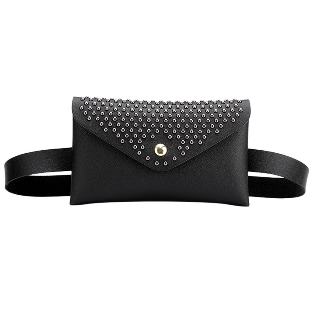 Fanny Pack Women Belt Bag Rivet Waist Bag Women's Pure Color PU Leather Messenger Shoulder Bag Phone Pouch Punk Belt Bag Purse