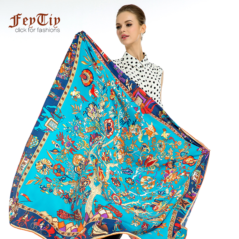 Large Hijab Twill Silk Scarf For Women Tree Print Square Shawls Head Scarfs Female 130cm*130cm Luxury Scarves For Ladies Stoles