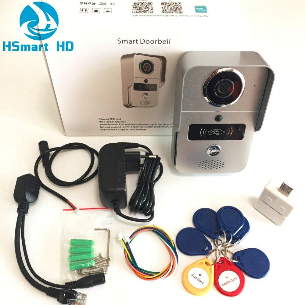 SD Card Wireless Video di Registrazione Video Telefono Del Portello + Portachiavi RFID + Coperta Campana del IP di Wifi Campanello per Porte POE Della Macchina Fotografica per ONVIF Collegare NVR