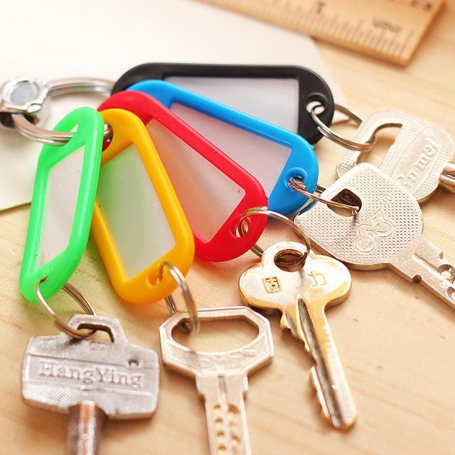 30 pcs Plastic Key Tags Assorted Key Rings ID Tags Name Card Fob Label New EC104