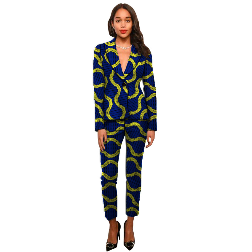 Elegant African print women blazer and trousers sets office lady design jacket+pant sets ladies dashiki clothes