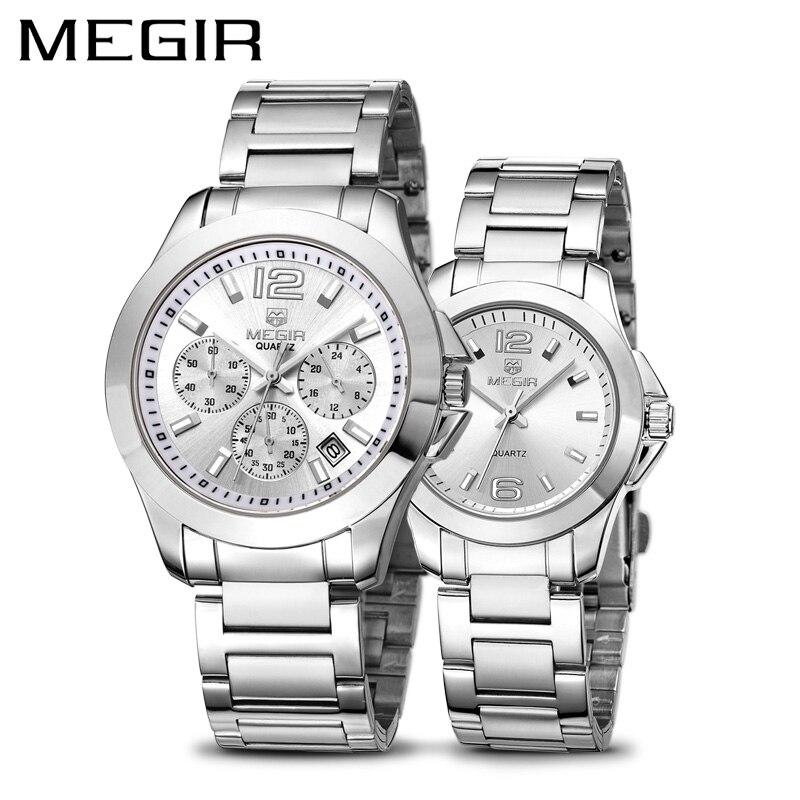 Erkek Kol Saati MEGIR Montre hommes de luxe en acier inoxydable amoureux montres d'affaires étanche Quartz Montre-bracelet ensemble Montre Homme