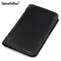 100 Genuine Leather Wallets For Men Vintage Real Leather Luxury Short RFID Blocking Bifold Wallet Brand