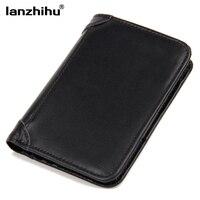 100 Genuine Leather Wallets For Men Vintage Real Leather Luxury Short RFID Blocking Bifold Wallet Brand