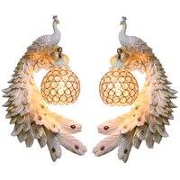 Современные близнецов Павлин Бра Творческий красочные бело золотые Павлин свет светодиодный Кристалл мета бра для Обеденная коридор