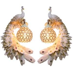 Image 1 - Modern Twins Tavuskuşu Duvar Lambası Yaratıcı Renkli Altın Beyaz Tavuskuşu Işık LED Kristal Metal Duvar Lambası Yemek Odası Koridor