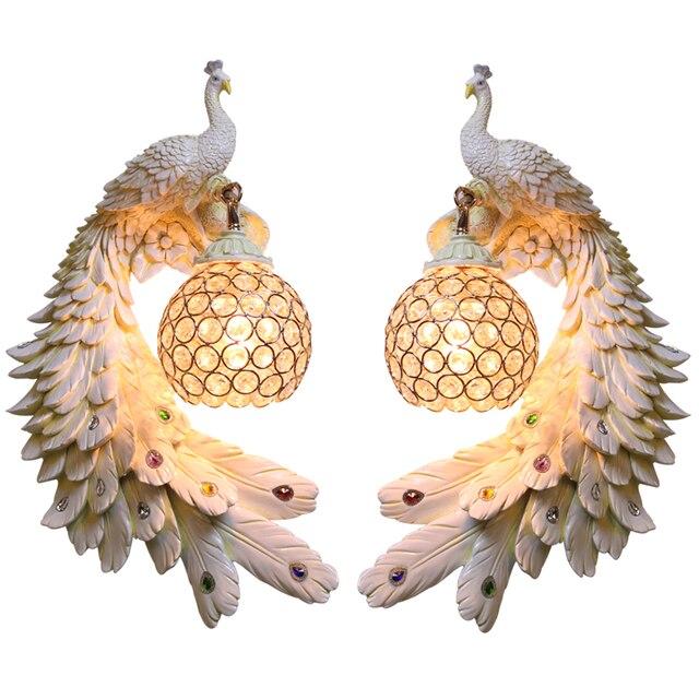 Modern Twins Tavuskuşu Duvar Lambası Yaratıcı Renkli Altın Beyaz Tavuskuşu Işık LED Kristal Metal Duvar Lambası Yemek Odası Koridor