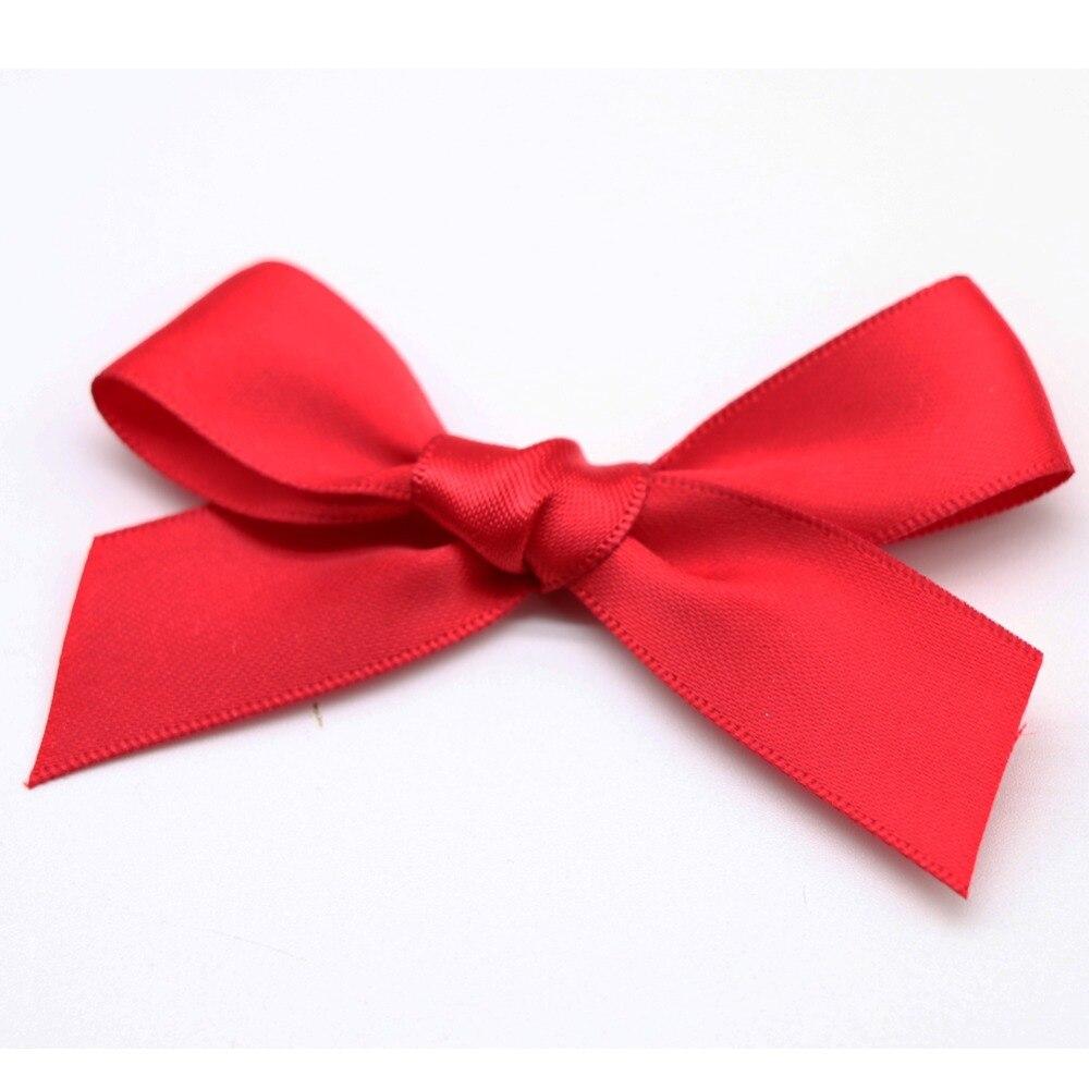 100Pc Pink Satin Ribbon Bow For Scrapbooking Card-making Craft DIY Decoration