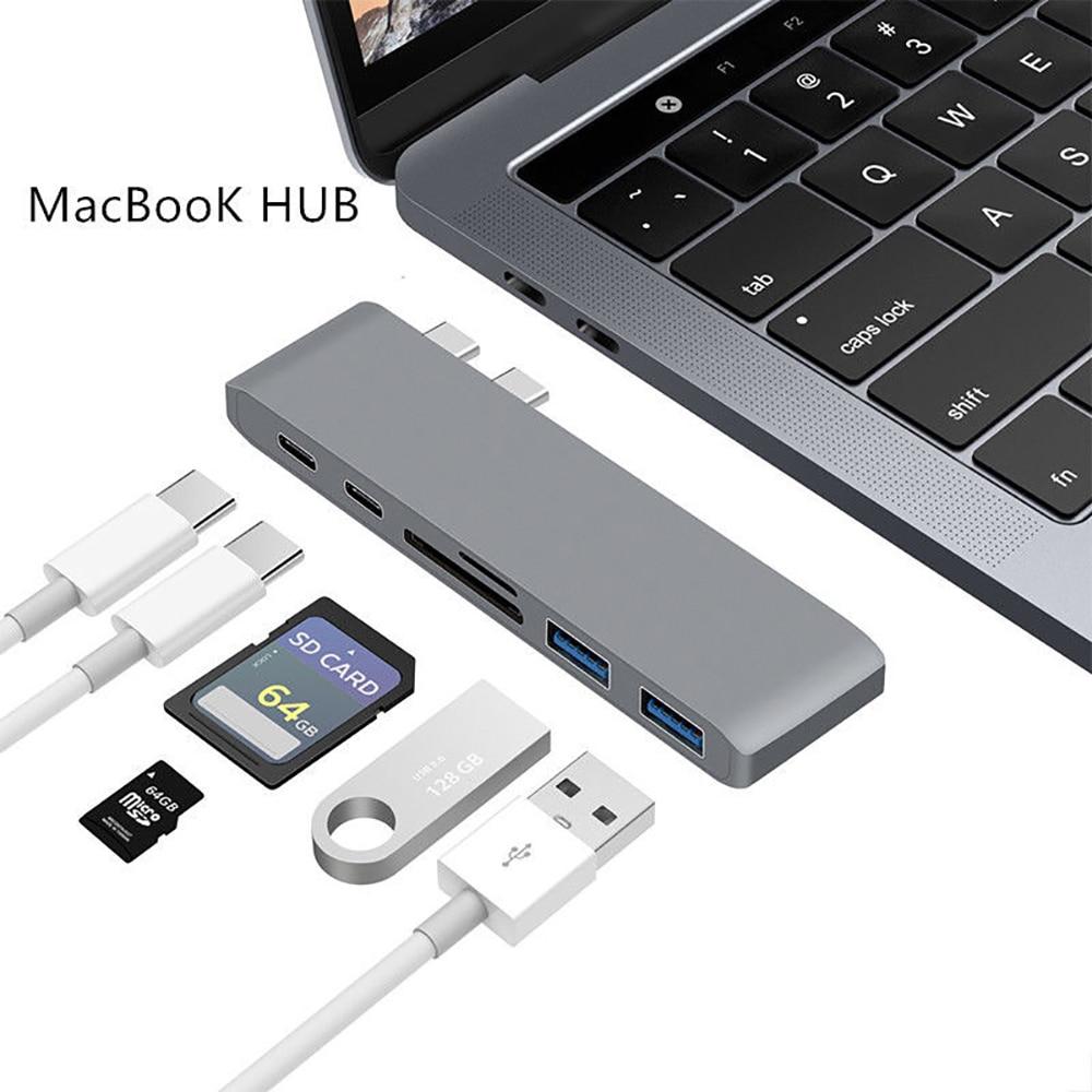 Dual Typ C HUB HDMI Adapter 6 in 1 Für Macbook Pro Mac PC Laptop Lade Kartenleser USB C hub 3,0 Typ-C Mit 4 karat Konverter