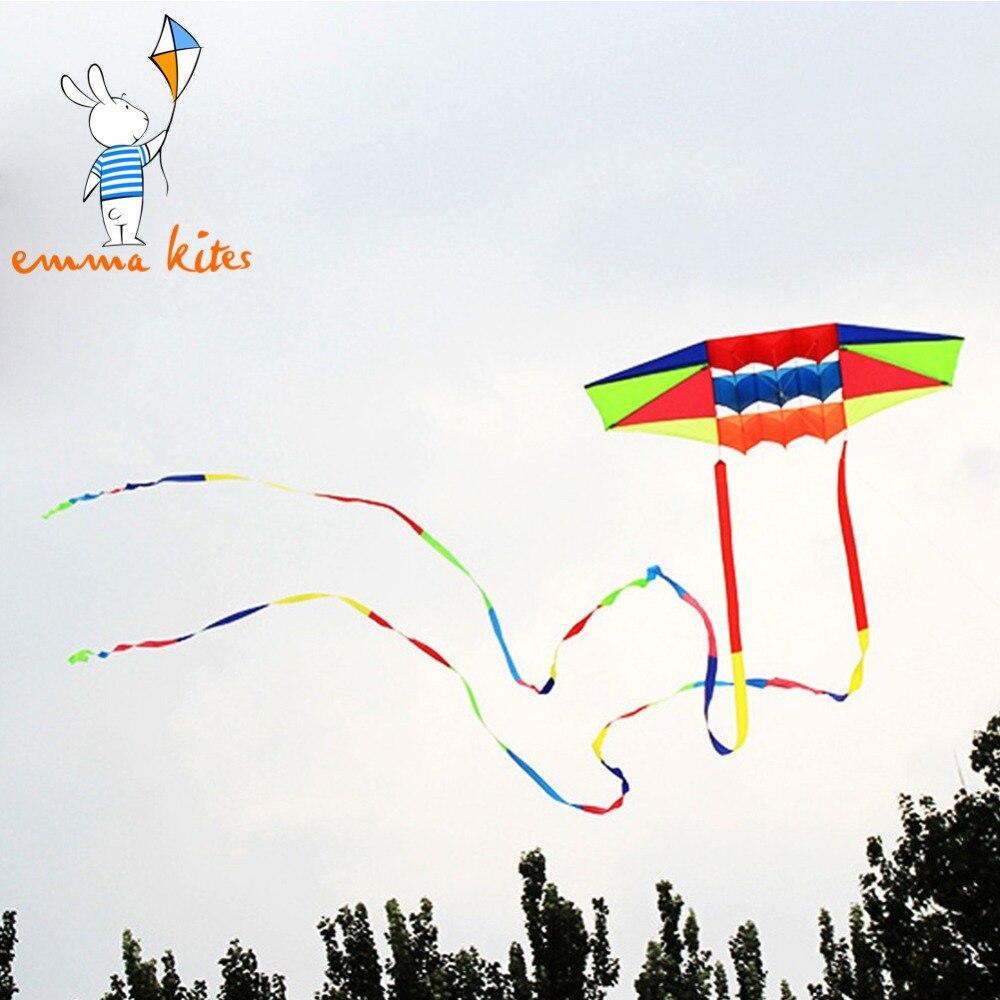야외 스포츠 카이트 성인을위한 나일론 3D 연 단일 라인 비치 연 날리기 2pcs 10m 무지개 연 꼬리 어린이 어린이 선물