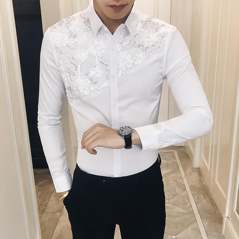 2019 Spring Shirt Men Sexy Lace Patchwork Men Shirt Long Sleeve Brand New Camisa Masculina Slim Fit Streetwear Prom Tuxedo 3XL