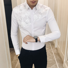 2019 Spring Shirt Men Sexy Lace Patchwork Long Sleeve Brand New Camisa Masculina Slim Fit Streetwear Prom Tuxedo 3XL