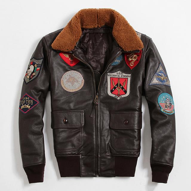 Especial Caliente Avirexfly Cuero Genuino Clásico de Los Hombres de Cuero de La Motocicleta Chaqueta de La Fuerza Aérea Chaqueta de Tom Cruise Top Gun GSJ195