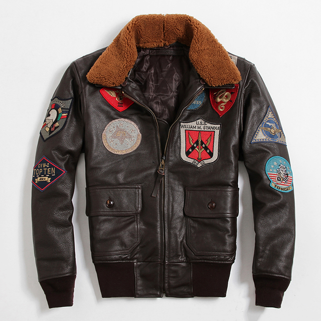 Special Hot Avirexfly Men's Classical  Genuine Leather Motorcycle Leather Jacket Tom Cruise Top Gun Air Force Jacket  GSJ195