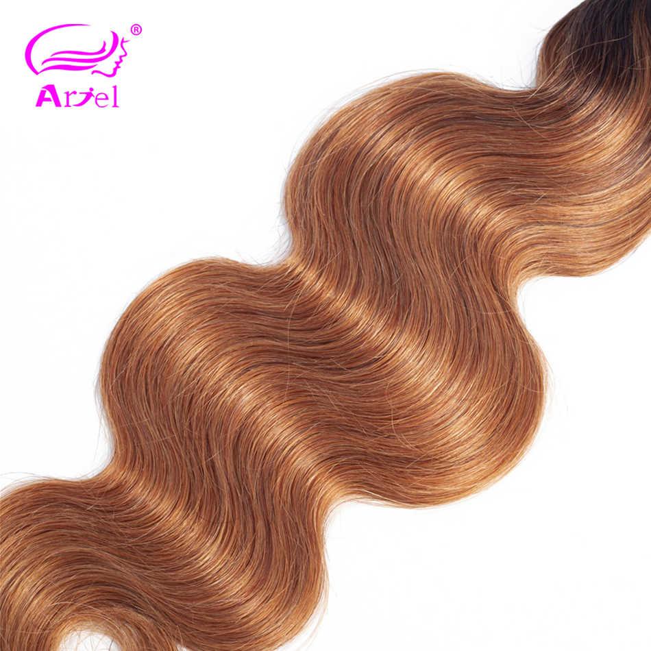 Ариэль волосы два тона ломбер бразильский пучки волос на теле волна 1B/30 цельнокроеное платье Ombre человеческих волос Weave Расширения 10 -26 дюймов