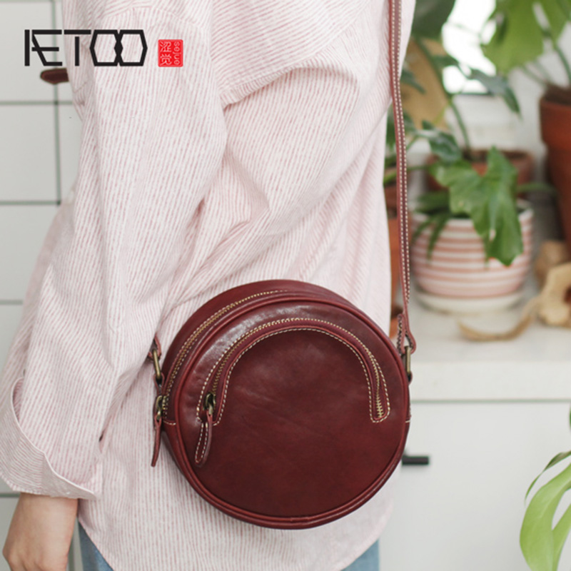 AETOO Womens bag, summer small fresh cowhide round advanced sense bag, crossbody bag, new leather retro small round bagAETOO Womens bag, summer small fresh cowhide round advanced sense bag, crossbody bag, new leather retro small round bag