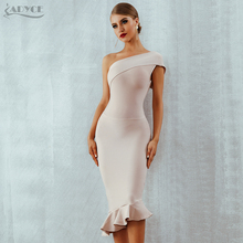 Adyce 2018 New Summer Women Bandage Dress Vestidos One Shoulder Sleeveless Ruffles Nightclub Dress Celebrity Evening Party Dress