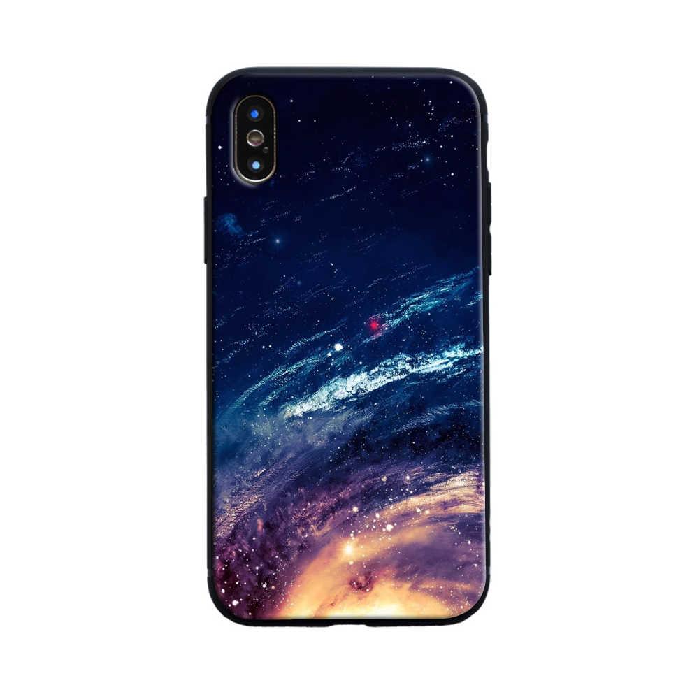Telepon Kasus Silicone Lembut untuk iPhone X 7 8 XR 6 S XS Max Ruang Bintang untuk iPhone 8 7 6 6 S Plus X 5 S Kasus Mewah Tritone