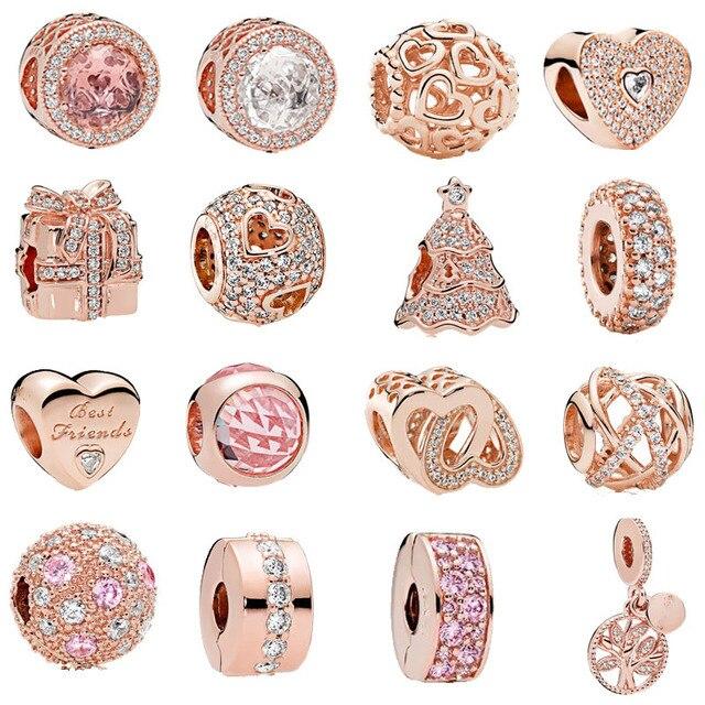 Envío gratis 1 unid corazón de oro rosa árbol familiar espaciador clip abalorio Encantos se adapta a las pulseras europeas Pandora Charm mix040