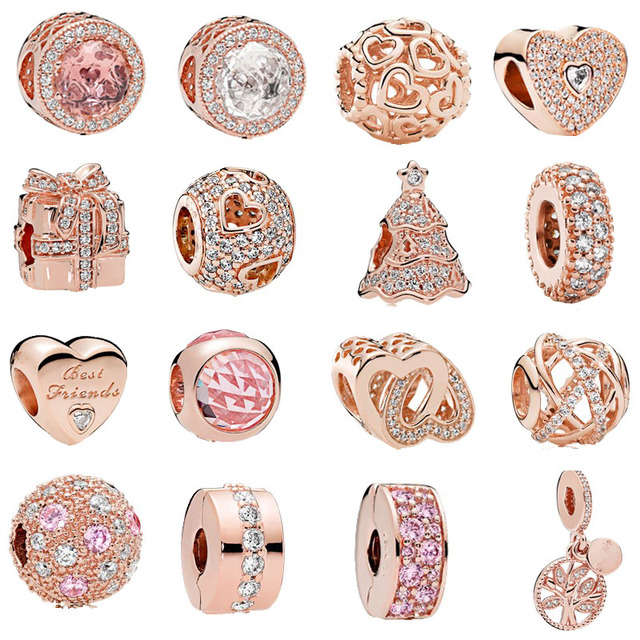 a7e8a3a98 free shipping 1pc rose gold heart family tree spacer clip bead charms Fits  European Pandora Charm
