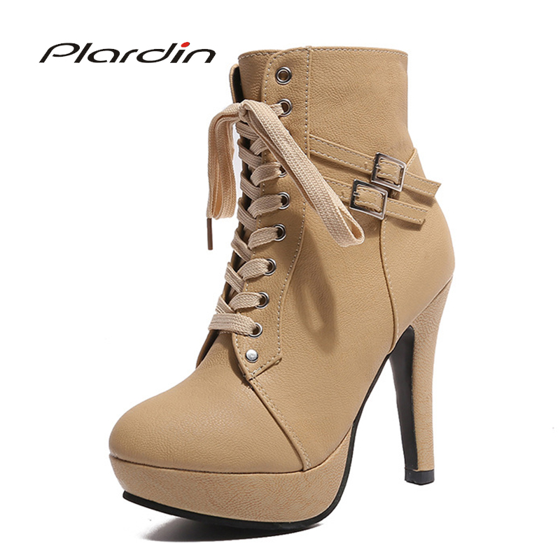 Plardin Plus Size 35-43 Women Boots Winter Martin Ankle Boots Women's Buckle Sewing Motorcycle Boots Shoes Woman Platforms