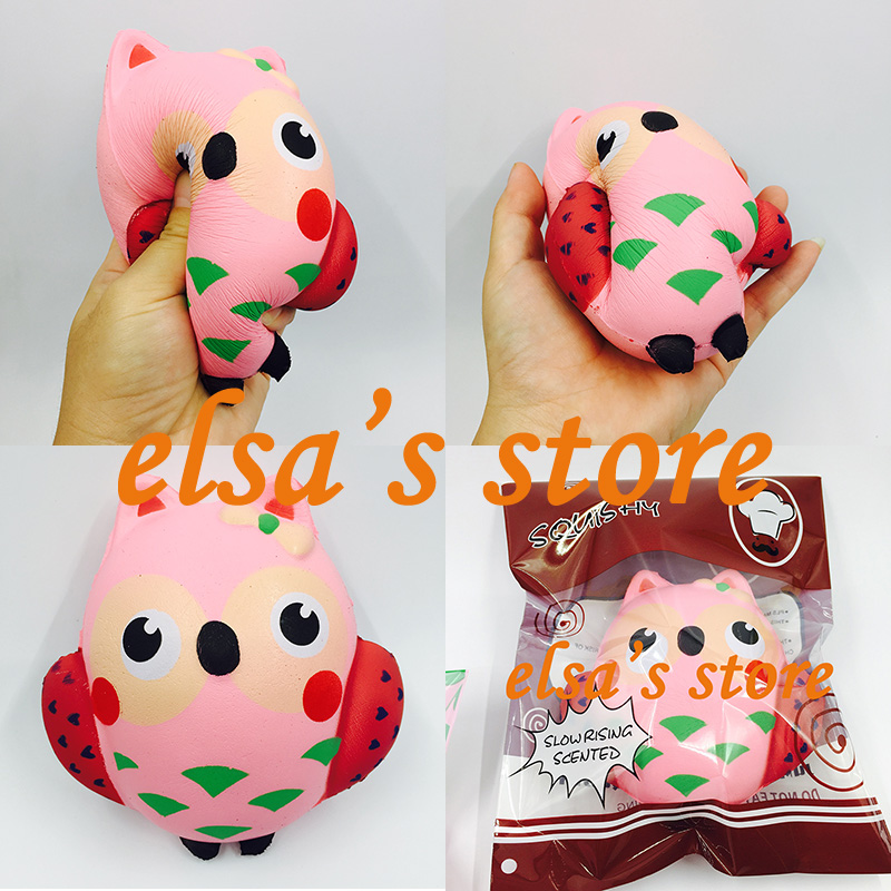 squishies wholesale 10pcs kawaii squishy jumpo 14cm pink owl slow rising squishy with package squeeze toys kid gift Shipping