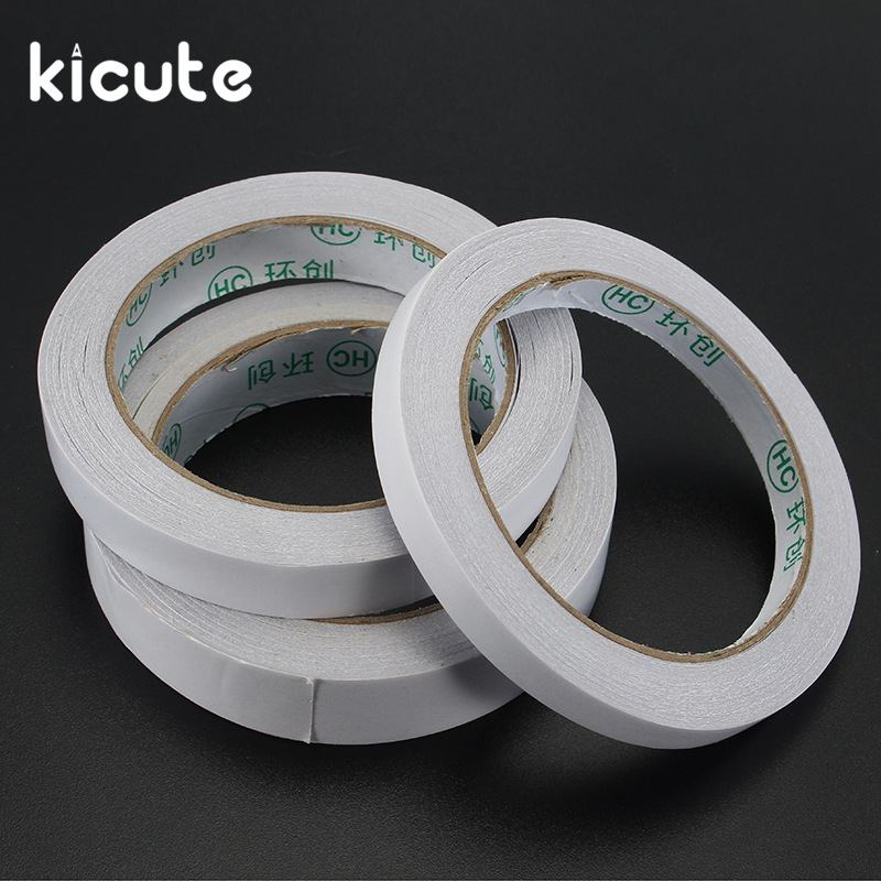 Kicute 5pcs/lot 10/15/20mm 20M White Double Sided Tape Roll Strong Adhesive Sticky DIY Crafts Home School Office Supplies 1 pcs deli 2 4cm 10y super slim strong adhesion white double sided tape doubles faced adhesive for office supplies