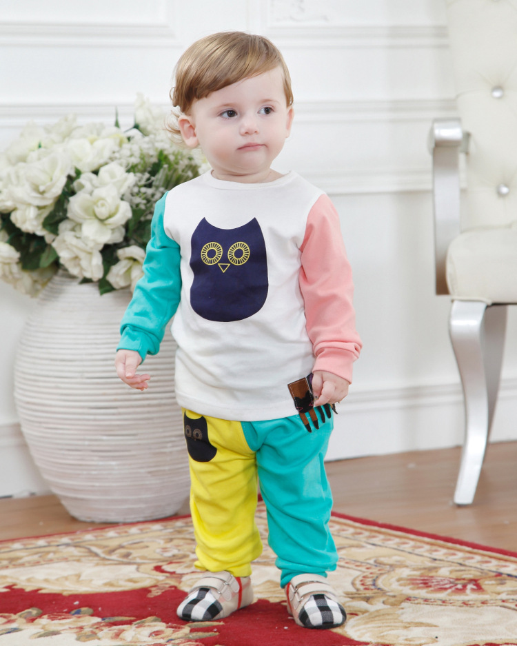 2017 Spring Fashion Kids Clothes Set Include Coat And Pants Cute Owl Baby Boys Girls Clothing Sets New Arrival 2-10Y купить чери тиго полный привод в саратове