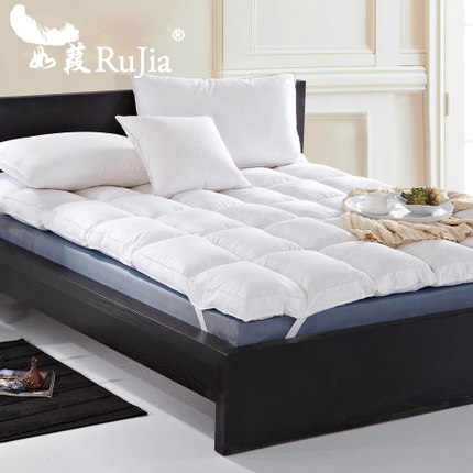 King Double Layer Down Proof Fabric Bed Mattress Topper White Duck Tatami Mat Feather Pad Best Featherbed For In Covers