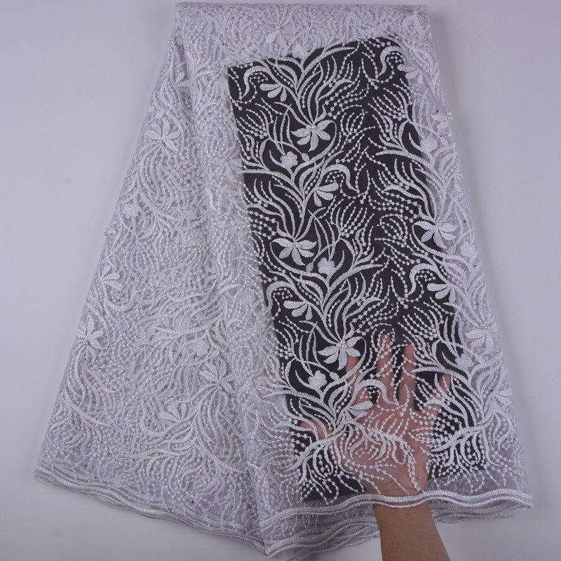 2019 New Design African French Lace Fabric With Stones For Wedding dress Nigerian French Net Lace Fabric For wedding dress 1389