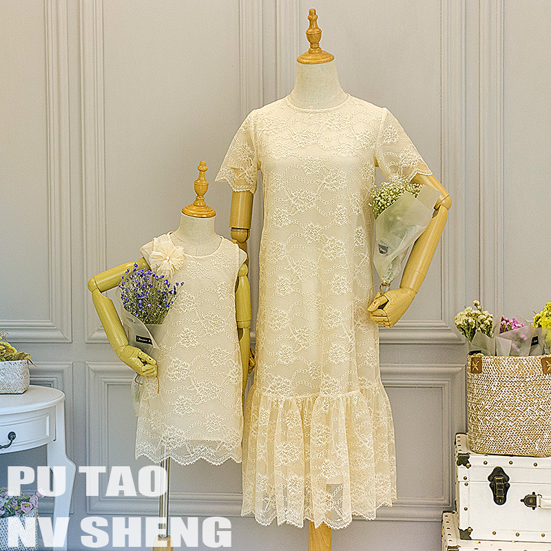 Summer children clothes women girls family matching clothing family look mother daughter Beige lace dress Girls party dresses 2018 new classical cheongsam children clothes women girls family look matching clothing mother daughter mom