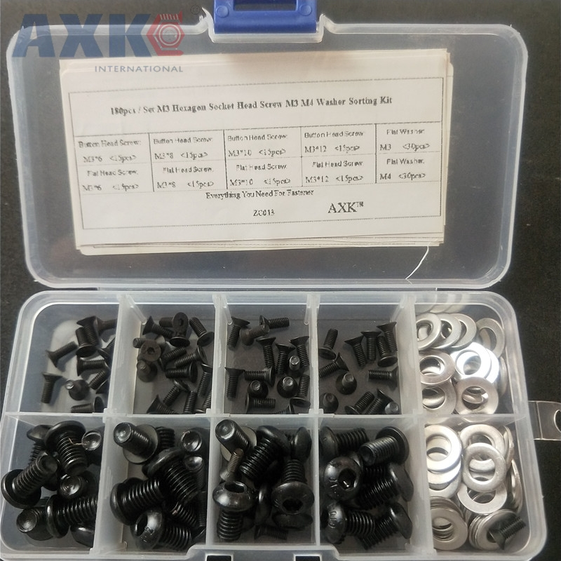 AXK 180pcs/set M3 Hex Socket Button Head Screws Flat M3 M4 Washers Assortment Kit Fastener Hardware with Box ZC013AXK 180pcs/set M3 Hex Socket Button Head Screws Flat M3 M4 Washers Assortment Kit Fastener Hardware with Box ZC013