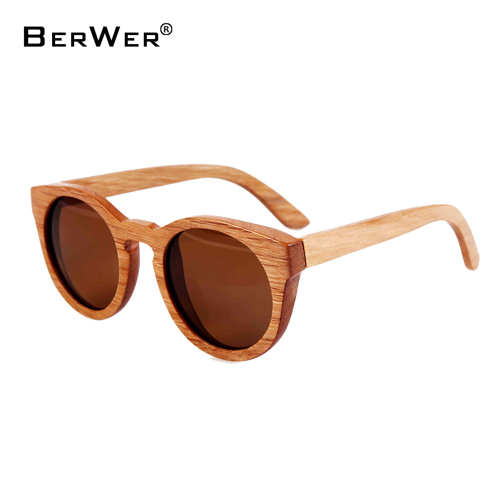 BerWer New 100% Real Wood Sunglasses Polarized Handmade Bamboo women Sun glasses Oculos De Sol Feminino